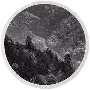 Smoky Mountain View Black And White Round Beach Towel