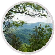 Smoky Mountain View Laurel Falls Trail Round Beach Towel