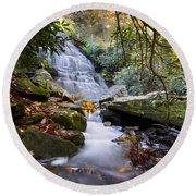 Smoky Mountain Waterfall Round Beach Towel