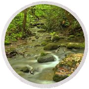 Smoky Mountains Fighting Creek Round Beach Towel