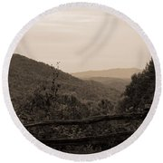 Smoky Mountains Lookout Point Round Beach Towel