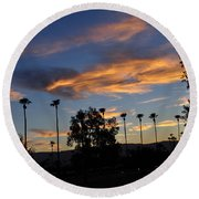 Smoky Sky The Morning After Fire Round Beach Towel