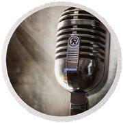 Smoky Vintage Microphone Round Beach Towel