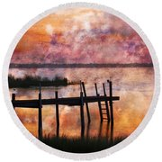 Smoldering Sunrise Round Beach Towel