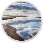 Smooth Water Reflections Round Beach Towel