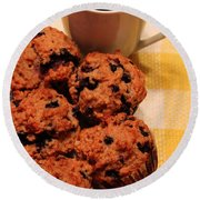 Snack Time - Muffins And Coffee Round Beach Towel