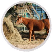 Snacking On Some Hay Round Beach Towel