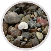 Snail Among The Rocks Round Beach Towel