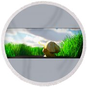 Snail And Grass... Round Beach Towel