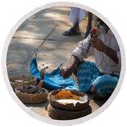 Snake Charmer Hampi Bazaar Round Beach Towel