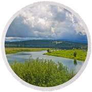 Snake River By Oxbow Bend In Grand Teton National Park-wyoming Round Beach Towel