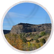 Snake River Canyon At Twin Falls Round Beach Towel