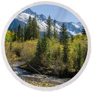 Sneffles And Stream II Round Beach Towel