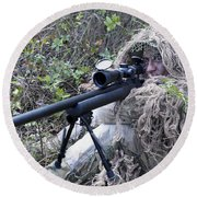 Sniper Dressed In A Ghillie Suit Round Beach Towel