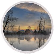 Dawn On The Snohomish Round Beach Towel