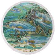 Snook Attack In0014 Round Beach Towel