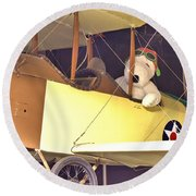 Snoopy In His Biplane Round Beach Towel