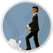 Snooty Poodle Round Beach Towel