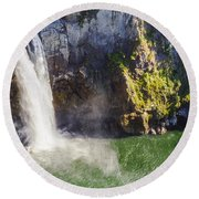 Snoqualime Falls And Pool Round Beach Towel