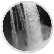 Snoqualmie Falls - Black And White Round Beach Towel