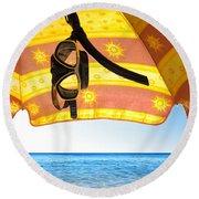 Snorkeling Glasses Round Beach Towel by Carlos Caetano