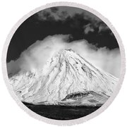 Snow And Clouds On Mt. Ngauruhoe 2 Round Beach Towel