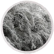 Snow And Ice Covered Trees At The Base Of Niagara Falls Round Beach Towel