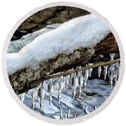 Snow And Icicles No. 1 Round Beach Towel