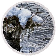 Snow And Icicles No. 2 Round Beach Towel