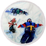 Snow Angels Round Beach Towel