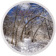 Snow Arches Round Beach Towel
