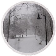 Snow At Bulls Island - 29 Round Beach Towel