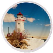 Snow At Cheboygan Crib Round Beach Towel