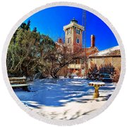 Snow At Hereford Inlet Round Beach Towel