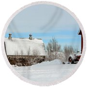 Snow Barns Round Beach Towel