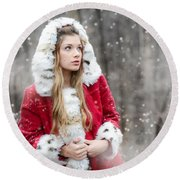 Snow Beauty In Red Round Beach Towel
