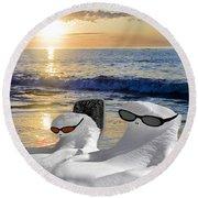 Snow Bird Vacation Round Beach Towel