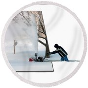 Snow Blower Round Beach Towel