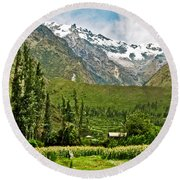 Snow-capped Andes Mountains With Snowline Above 17000 Feet-peru Round Beach Towel