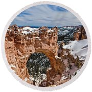 Snow Capped Arch At Bryce Round Beach Towel