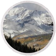 Snow Capped Beauty Round Beach Towel