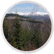 Snow Capped View Round Beach Towel