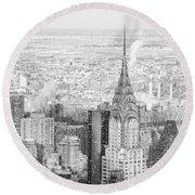 Snow - Chrysler Building And New York City Skyline Round Beach Towel