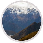 Snow Clouds In The Andes Round Beach Towel