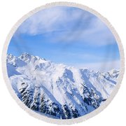 Snow Covered Alps, Schonjoch, Tirol Round Beach Towel