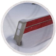 Snow Covered Bench Round Beach Towel