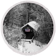 Snow Covered Covered Bridge  Round Beach Towel