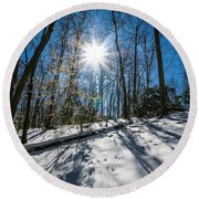 Snow Covered Forest Round Beach Towel