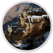 Snow Covered Grand Canyon Round Beach Towel