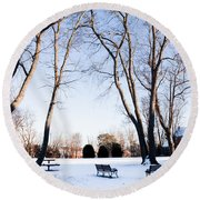 Snow Covered Green Round Beach Towel